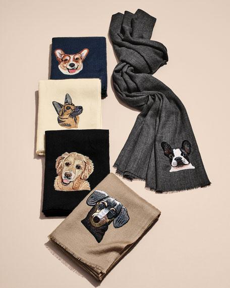 K Janavi Dog Face Embroidered Cashmere Scarf