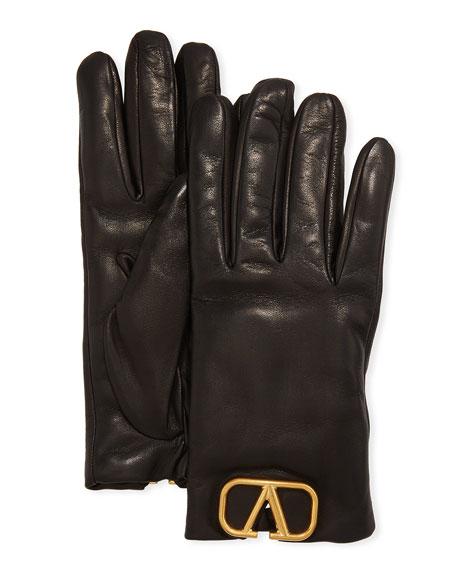 Valentino VLOGO Leather Gloves w/ Cashmere Lining