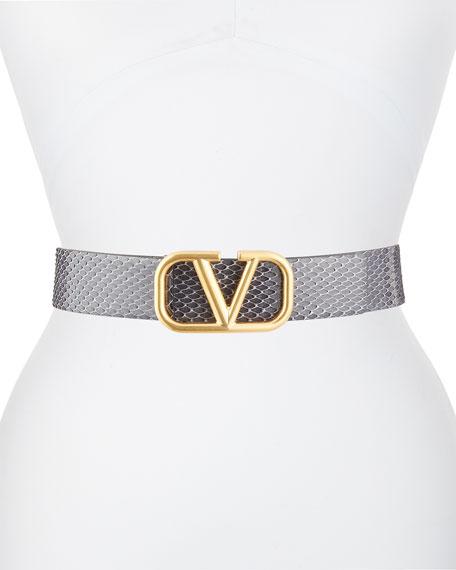 Valentino Python Go Logo Belt