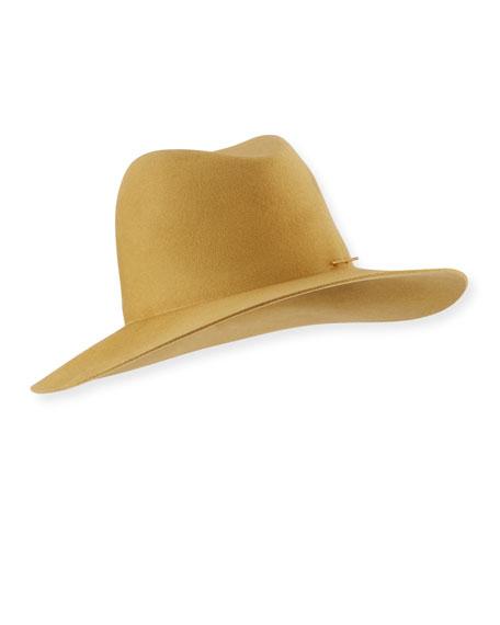 Janessa Leone Blair Wool Fedora Hat with Logo Pin