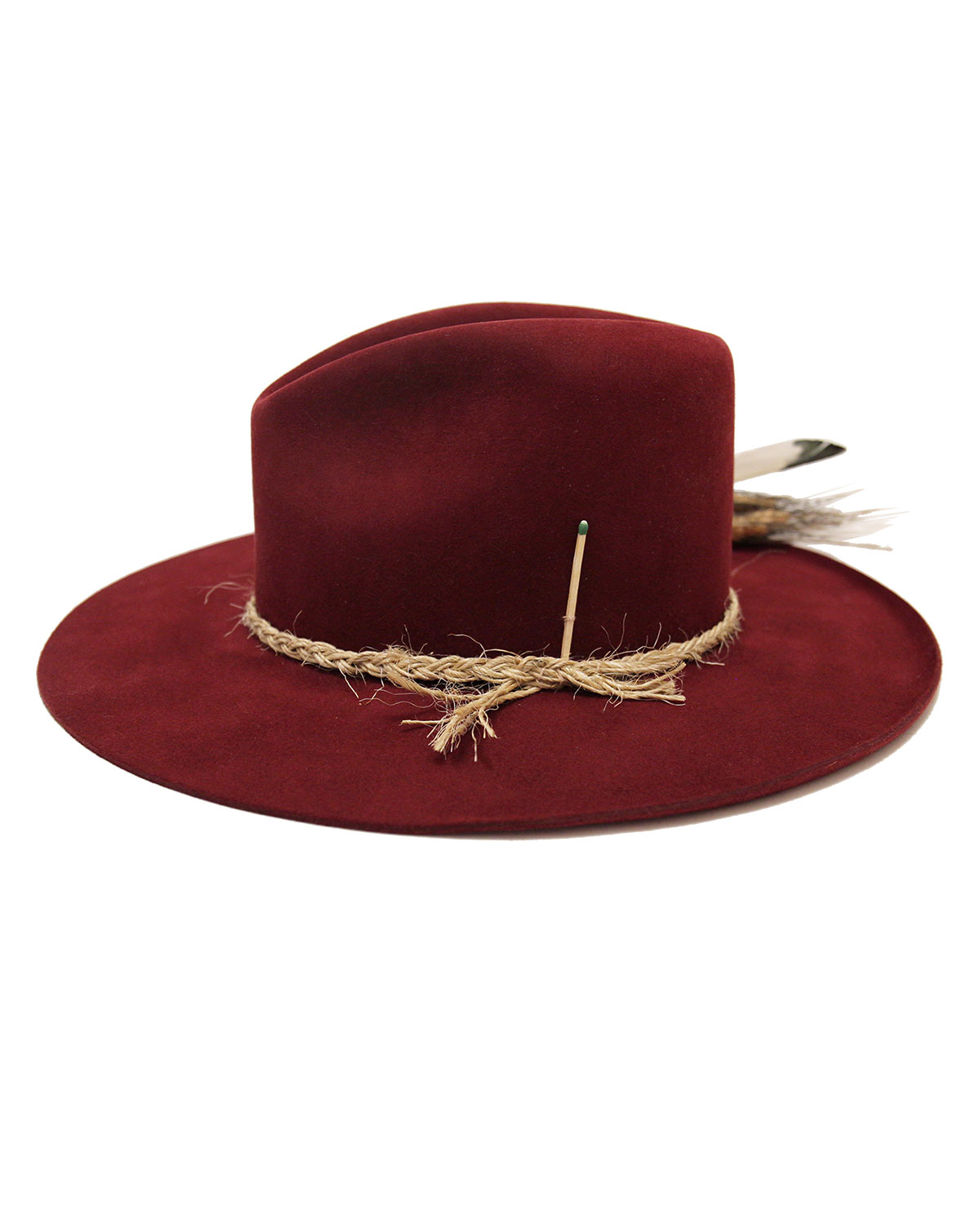 Nick Fouquet Scarlett Beaver Felt Fedora Hat w/ Feather Trim