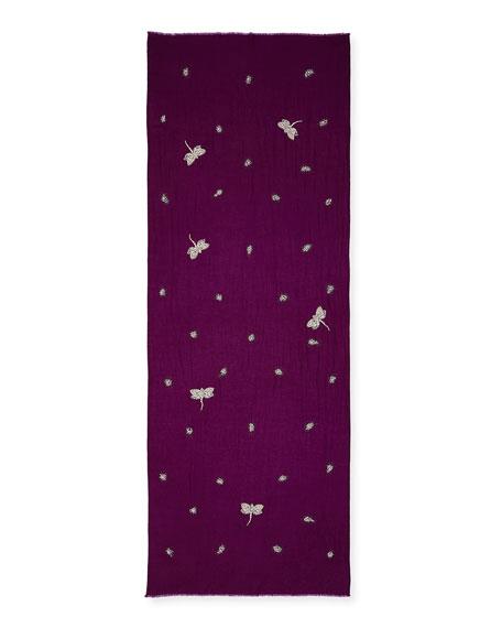 K Janavi Embellished Dragonfly Cashmere Scarf