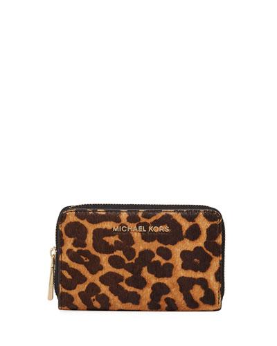 Jet Set Small Zip-Around Leopard Card Case Wallet