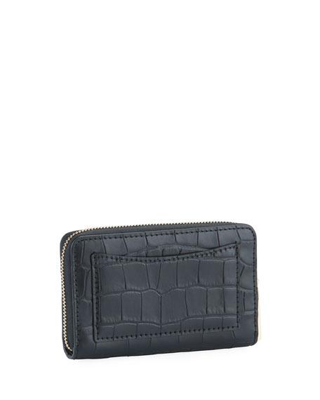 MICHAEL Michael Kors Jet Set Small Zip-Around Croco Card Case Wallet