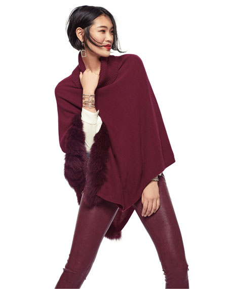 Image 2 of 3: Cashmere Turtleneck Poncho w/ Fur Trim
