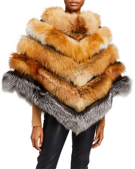 La Fiorentina Mixed Fox Fur Oversized Poncho