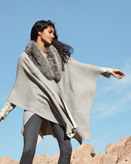 Image 2 of 4: Sofia Cashmere Double-Face Cashmere Cape w/ Fur Collar
