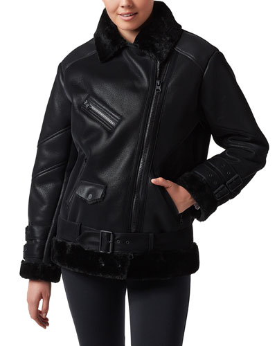 Violetta Shearling-Trim Faux-Leather Moto Jacket