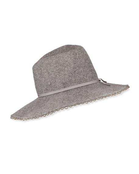 Gigi Burris Drake Wool Felt Fedora Hat w/ Beaded Edge