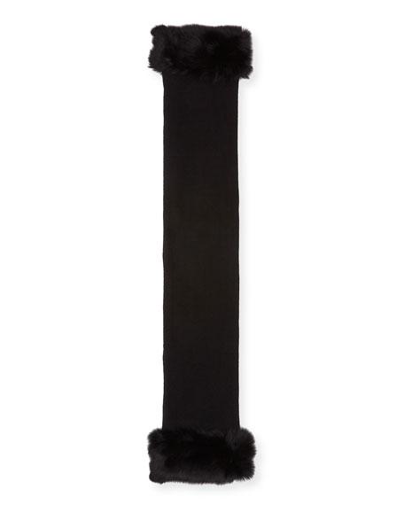 Belle Fare Cashmere Blend Shrug w/ Oversized Fox Fur Cuffs