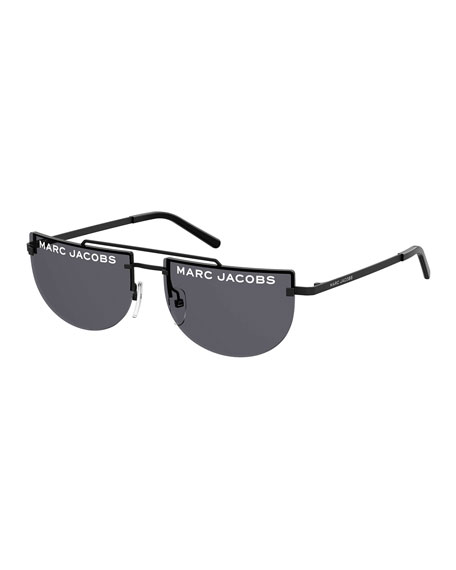 The Marc Jacobs Rimless Flat Top Logo Sunglasses
