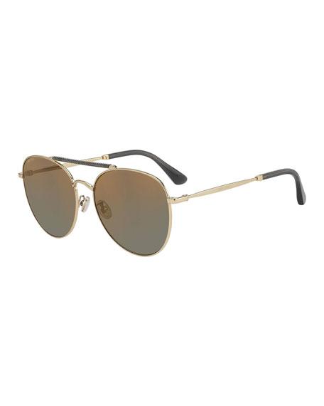 Jimmy Choo Abbiegs Aviator Stainless Steel Sunglasses