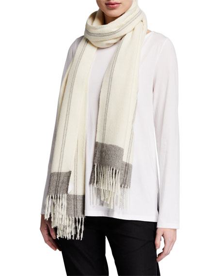 Eileen Fisher Handpainted Wool Gauze Scarf w/ Fringe