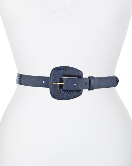Veronica Beard Elsy Snake-Embossed Leather Belt