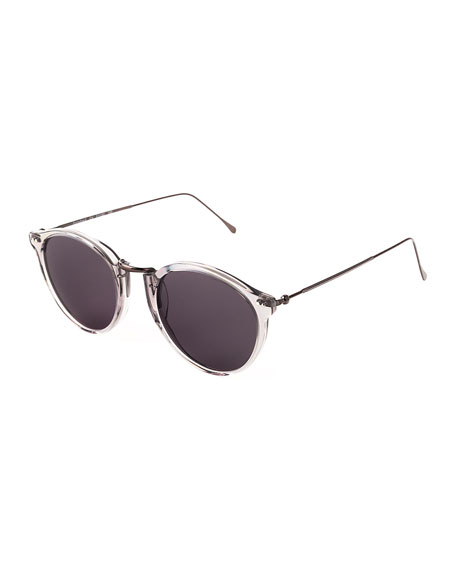 Illesteva Portofino II Round Metal & Acetate Sunglasses