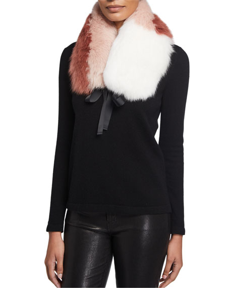 Yves Salomon Colorblock Fox Fur Collar