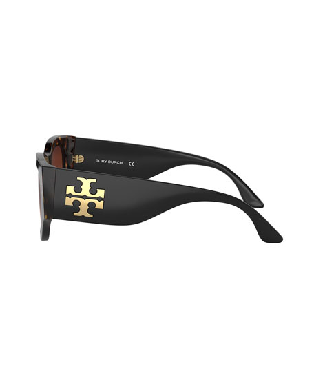 Tory Burch Gradient Rectangle Acetate Sunglasses w/ Oversized Logo Detail