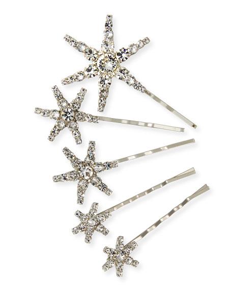 Jennifer Behr Vespera Crystal Embellished Bobby Pins, Set of 5
