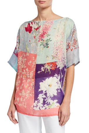 Etro Orchid Patchwork Print Poncho