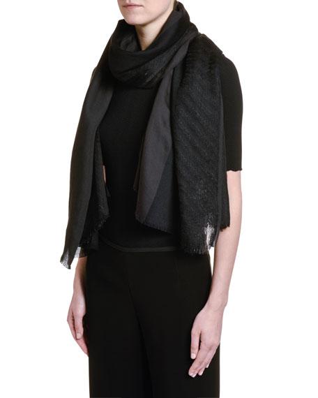 Giorgio Armani Metallic Wool Scarf, Black