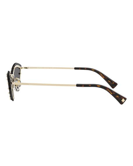 Valentino Rimless Cat-Eye Sunglasses w/ Crystal Trim