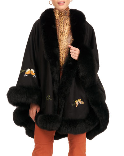 Cashmere Cape with Butterfly Embroidery & Fur