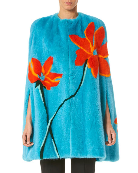 Image 1 of 3: Carolina Herrera Intarsia Mink Fur Cape