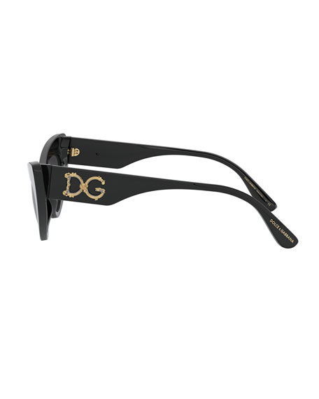 Image 3 of 3: Dolce & Gabbana Acetate Cat-Eye Sunglasses w/ Logo Hardware