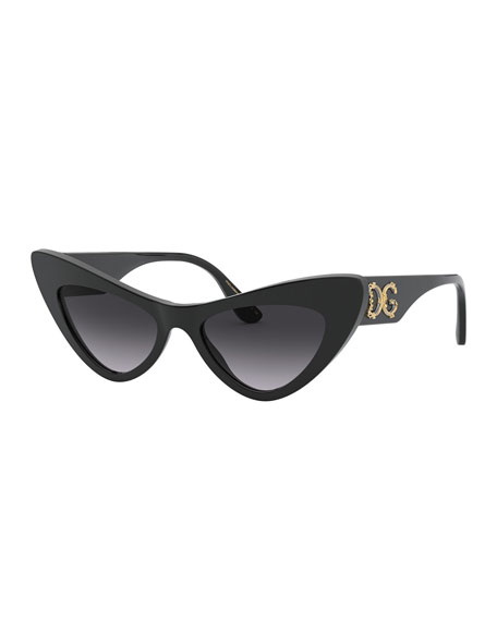 Image 1 of 3: Dolce & Gabbana Acetate Cat-Eye Sunglasses w/ Logo Hardware
