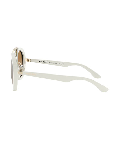 Miu Miu Mirror Acetate Aviator Sunglasses