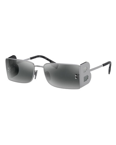 Rectangle Metal Sunglasses w/ B Side Blinders