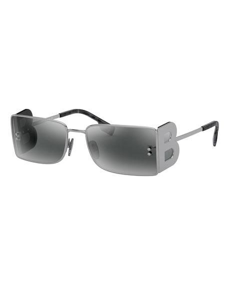 Burberry Rectangle Metal Sunglasses w/ B Side Blinders