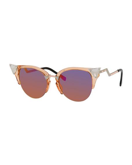 Fendi Iridia Cat-Eye Crystal-Tip Sunglasses