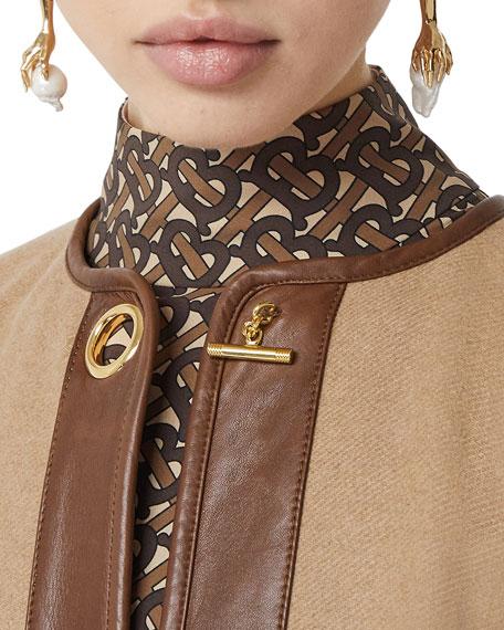 Burberry Cashmere Leather-Trim Cape