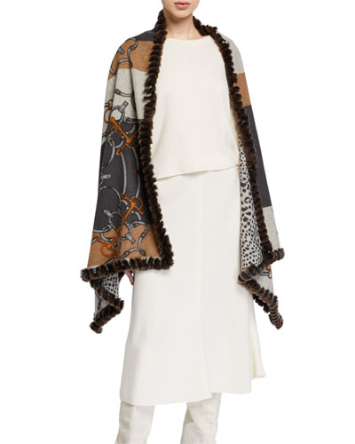 Cashmere Chain Print Wrap w/ Rabbit Fur Trim