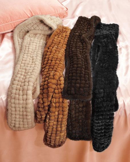 Kelli Kouri Grid Knit Mink-Fur Scarf