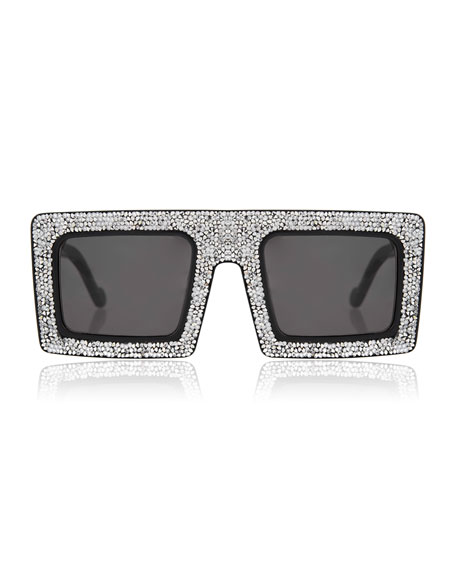 Anna-Karin Karlsson Mother Beep Crystal Front Square Sunglasses