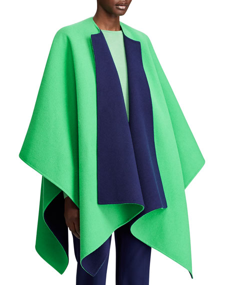 Image 3 of 3: Ralph Lauren Collection Kellin Two-Tone Wool Poncho