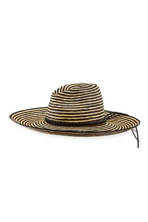 Saint Laurent Two-Tone Straw Large Brim Hat