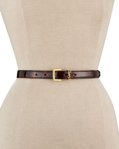 Tortoiseshell Patent Leather YSL Monogram Belt