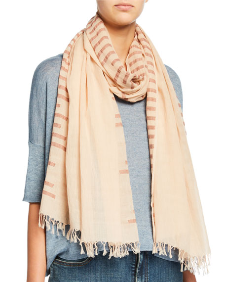 Eileen Fisher Organic Cotton Jamdani Bars Scarf