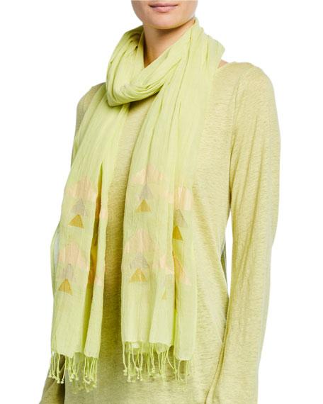 Eileen Fisher Handloom Organic Cotton Jamdani Triangles Scarf