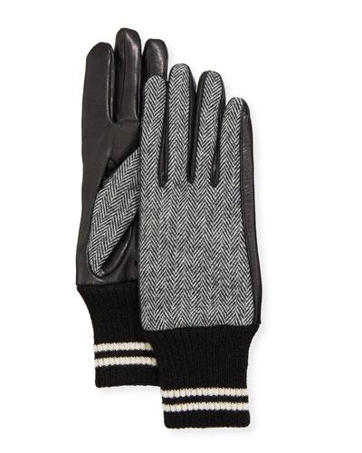 Herringbone Lamb Leather Gloves