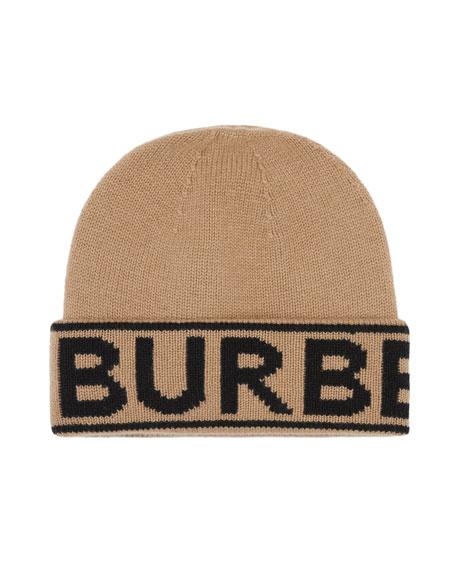 Burberry Logo Knit Cashmere Beanie Hat