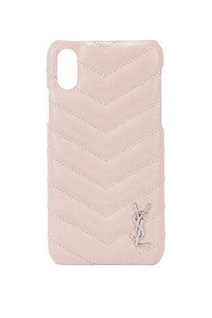Saint Laurent Monogramme iPhone XS Shiny Calfskin Phone Case, Pink
