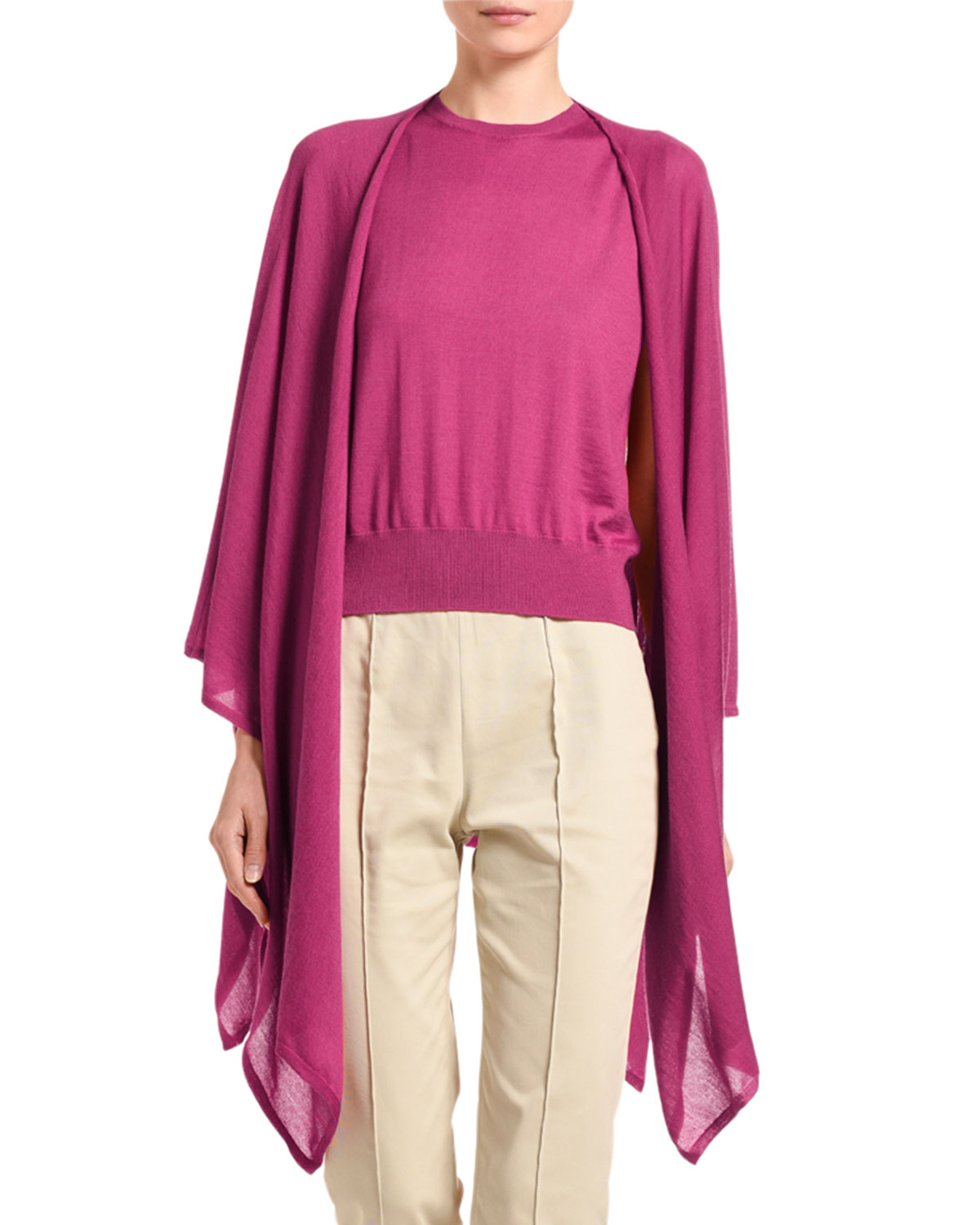 Agnona Featherweight Cashmere/Linen Open-Front Poncho