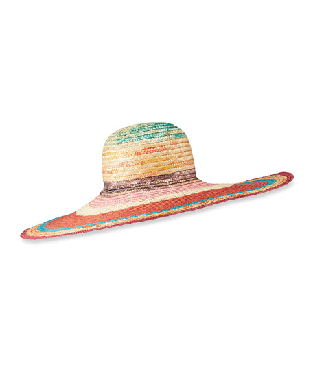 Missoni Multicolor Straw Wide Brim Hat
