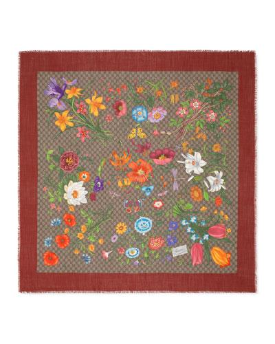 GG Flora Print Wool-Silk Scarf