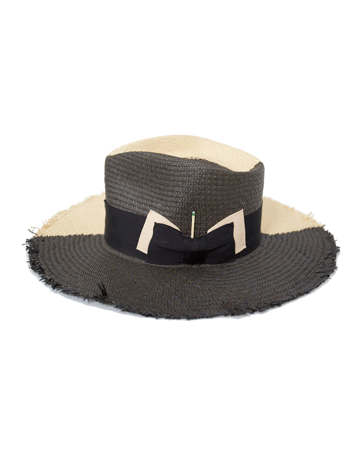 Nick Fouquet Tree Bones Two-Tone Straw Fedora Hat
