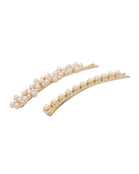 L. Erickson vintage Long Pearly Bobby Pins, Set of 2